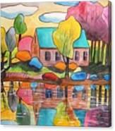 Lakeside Dream House Canvas Print