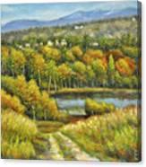 Lakeside Trail In Autumn Canvas Print