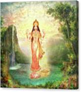 Lakshmi With The Waterfall 2 Canvas Print