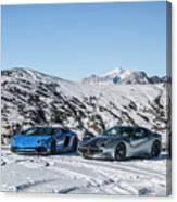 Lamborghini Aventador Sv And Ferrari F12 Tdf Canvas Print