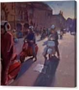 Lambrettas At Winchester Canvas Print