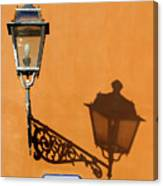Lamp, Shadow And Burnt Umber Wall, Orvieto, Italy Canvas Print