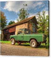 Landrover And The Barn Canvas Print