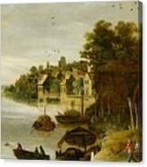 Landscape By A Riverside Town Canvas Print
