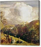 Landscape Figures And Cattle Canvas Print