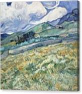 Landscape From Saint Remy At Wheat Fields  Van Gogh Series   By Vincent Van Gogh Canvas Print