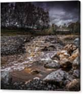 Landscape River And Bridge II Canvas Print