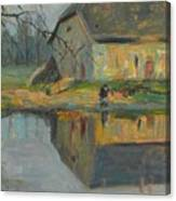 Landscape With A Barn Canvas Print