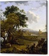 Landscape With A Hunting Party Nicolaes Claes Pietersz Berchem Canvas Print