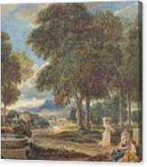 Landscape With A Man Washing His Feet At A Fountain Canvas Print