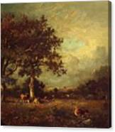 Landscape With Cows 1870 Canvas Print