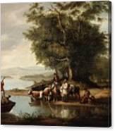 Landscape With Cows Canvas Print