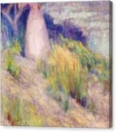 Landscape With Figure In Pink Canvas Print