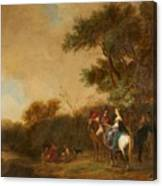 Landscape With Hunting Party Canvas Print