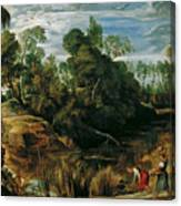 Landscape With Milkmaids And Cows Canvas Print