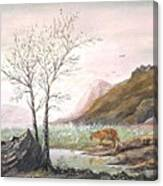 Landscape With Mountain Lion Canvas Print