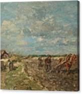 Landscape With Ploughmen Canvas Print