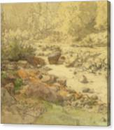 Landscape With Rocks In A River Canvas Print
