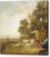 Landscape With Shepherds And Shepherdesses Near A Well Canvas Print