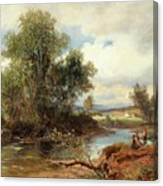 Landscape With Stream And Decorative Figures Canvas Print