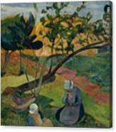 Landscape With Two Breton Women Canvas Print