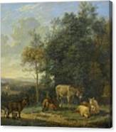 Landscape With Two Donkeys, Goats And Pigs Canvas Print