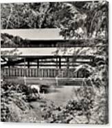 Lanterman's Mill Covered Bridge Black And White Canvas Print