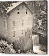 Lanterman's Mill In Mill Creek Park Black And White Canvas Print