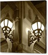 Lanterns - Night In The City - In Sepia Canvas Print