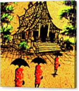 Procession To Temple, Lao Collection Canvas Print