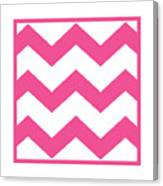 Large Chevron With Border In French Pink Canvas Print