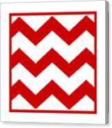 Large Chevron With Border In Red Canvas Print