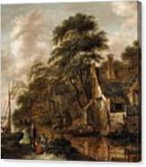 Large Farmstead On The Bank Of A River Canvas Print