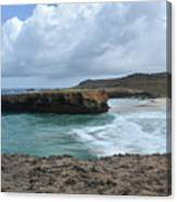 Large Rock Formation In Aruba's Boca Keto Beach Canvas Print