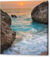 Large Rocks And Wave With Sunset On Paradise Island Greece Canvas Print