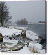 Large Stones Covered With Snow Canvas Print