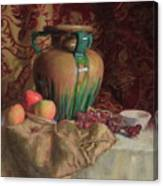 Large Vase With Apples Canvas Print