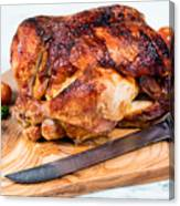 Large Whole Chicken Ready To Be Carved On Wooden Server Board  Canvas Print