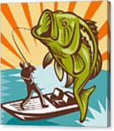 Largemouth Bass Fish And Fly Fisherman Canvas Print