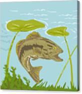 Largemouth Bass Fish Swimming Underwater  Canvas Print