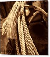 Lariat On A Saddle Canvas Print