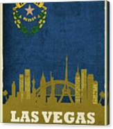 Las Vegas City Skyline State Flag Of Nevada Art Poster Series 018 Canvas Print