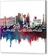 Las Vegas Skyline City Blue Canvas Print