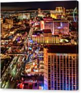 Las Vegas Strip North View Night 2 To 1 Ratio Canvas Print
