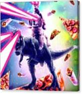 Laser Eyes Space Cat Riding Dog And Dinosaur Canvas Print