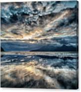 Last Light Isle Of Rum From Isle Of Eigg Canvas Print