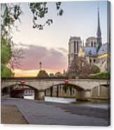 Last Light On Notre Dame De Paris Canvas Print