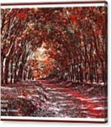 Late Autumn Avenue H A With Decorative Ornate Printed Frame. Canvas Print