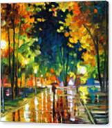 Late Night - Palette Knife Oil Painting On Canvas By Leonid Afremov Canvas Print