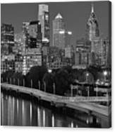 Late Night Philly Grayscale Canvas Print